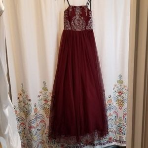 New prom dress tulle embroidered